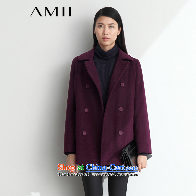 _amii minimalist- 2015 new products reverse collar double-plug-bag long wool a wool coat 11440694 purple聽XL