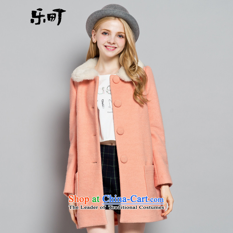Lok-machi 2015 winter clothing new date of women's gross Neck Jacket CWBB44146 sweet pinkS
