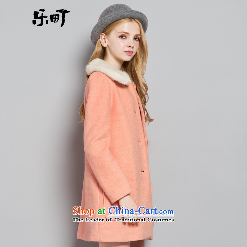 Lok-machi 2015 winter clothing new date of women's gross Neck Jacket CWBB44146 sweet pinkS, American town shopping on the Internet has been pressed.