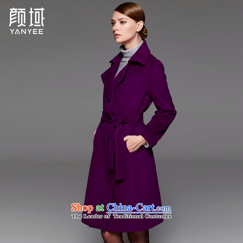 Mr NGAN domain 2015 autumn and winter new women's double-commuter train with a wool coat Sau San long woolen coat female�W4539牋XL_42 Purple