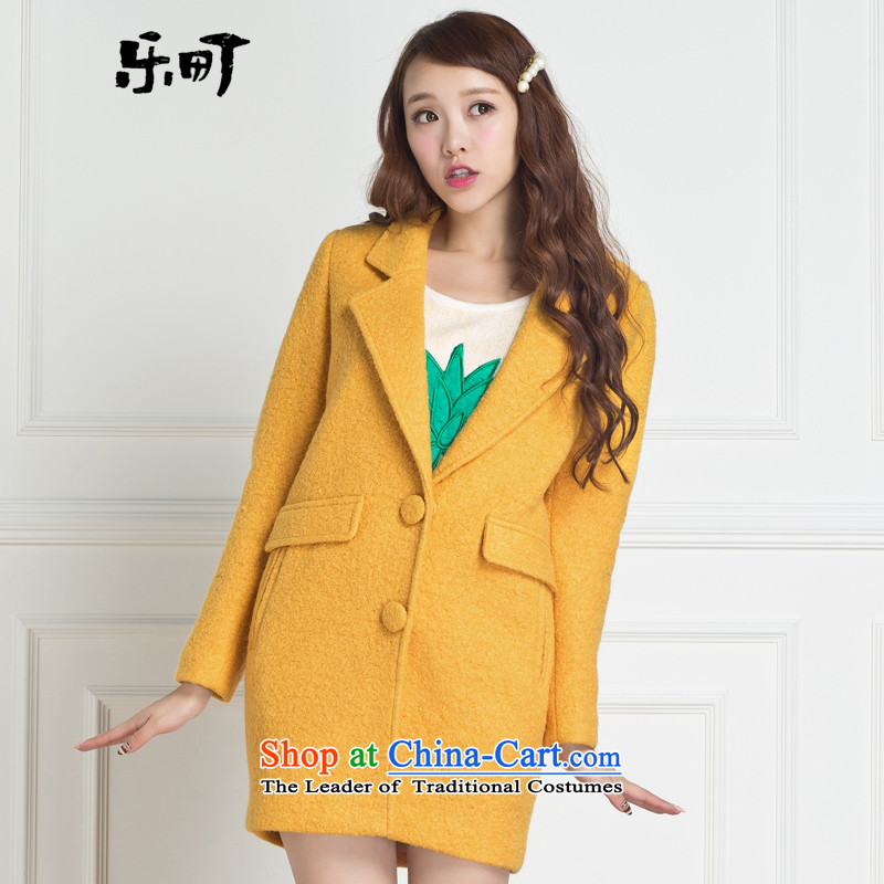 Lok-machi 2015 winter clothing new date of women caught in transition reissue coats Yellow M