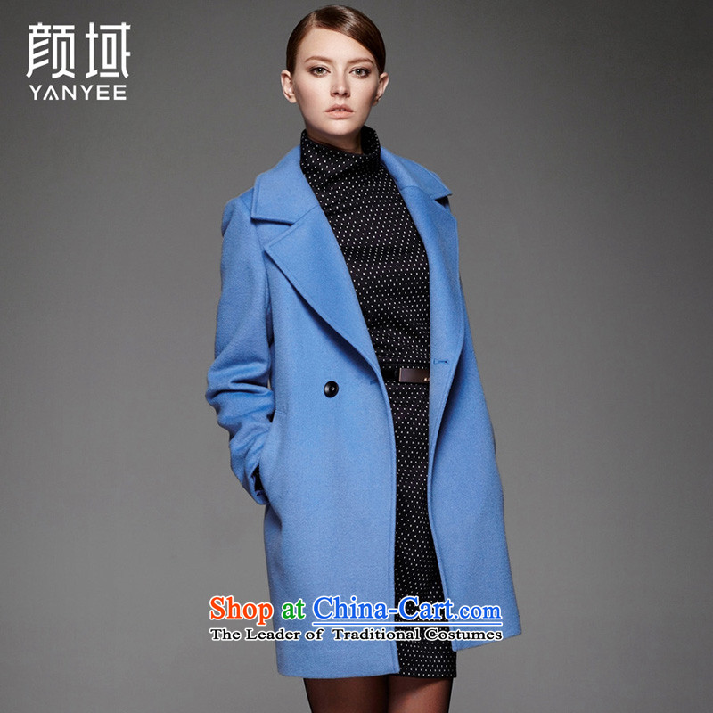 Mr NGAN domain 2015 autumn and winter new women's fashion, long hair? jacket woolen coat  04W4553  L_40 Light Blue