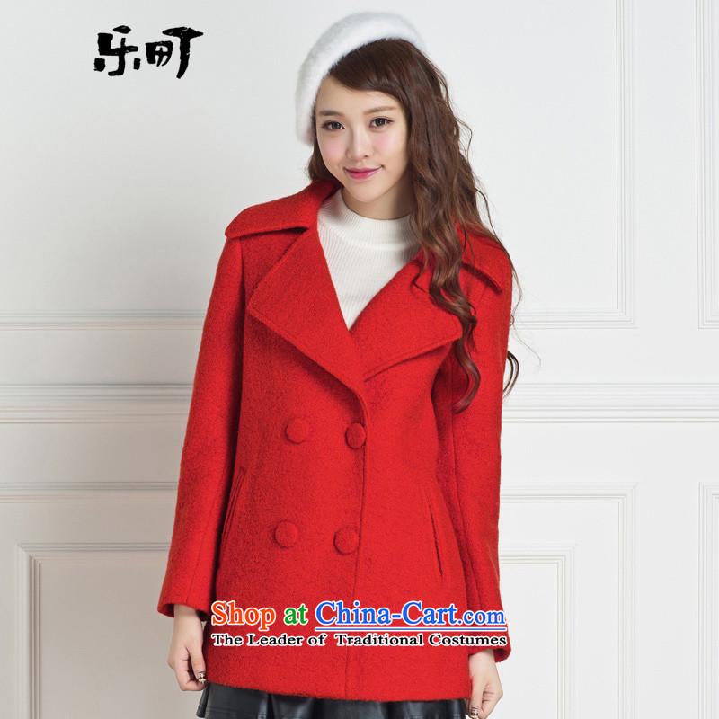 Lok-machi 2015 winter clothing new date of female big coats CWAA44237 lapel redL
