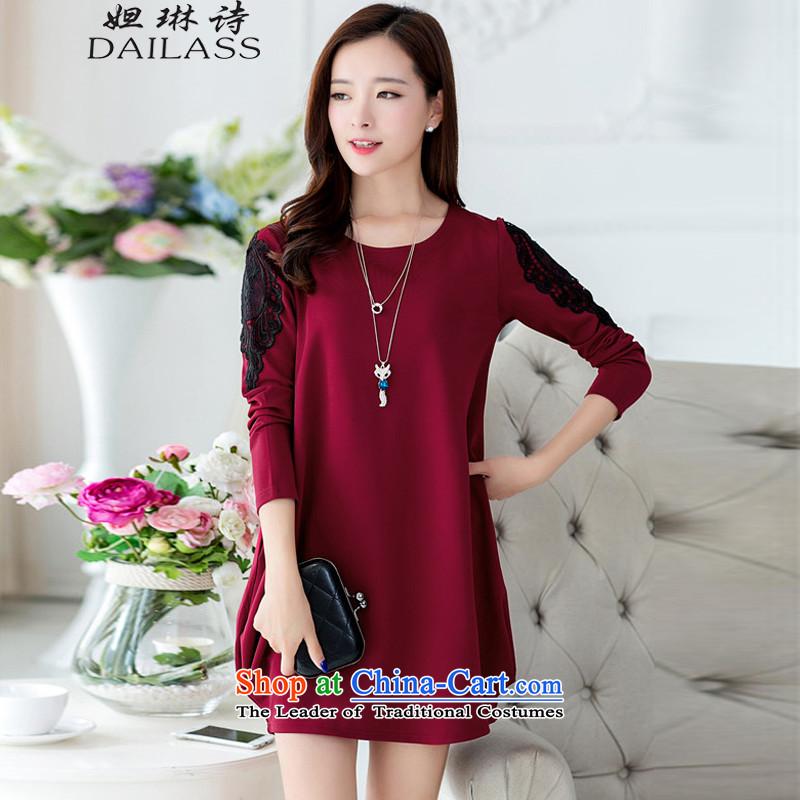 Hoda Badran Lin Shih larger women's Summer 2015 fall for women Korean version of large code leisure cotton linen embroidered shirt femaleQY977 SummerWine redXXL