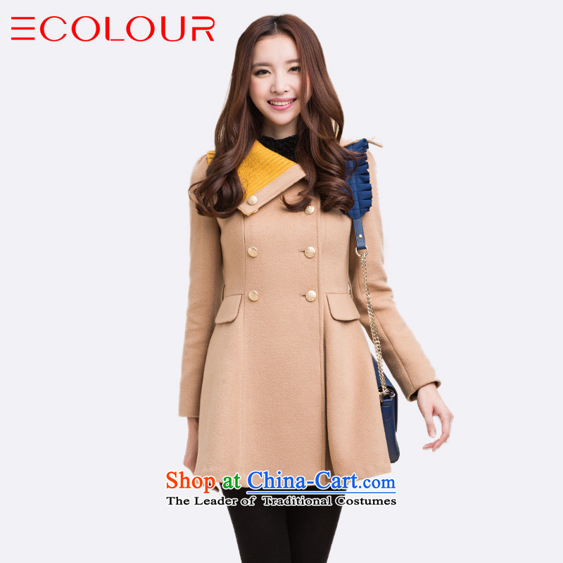 3 Color asymmetric lapel Classic double-British wind long wool coat female light coffee? L_165_88A