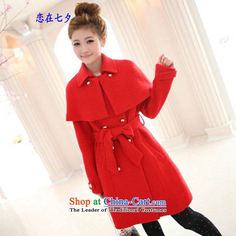 In the autumn of land tanabata load for winter female new stylish graphics thin coat sweet cloak jacket coat gross overcoats blessing for female? Jacket coat winter coats women female red clip cotton waffle)S suitable for people about a ban on landmines