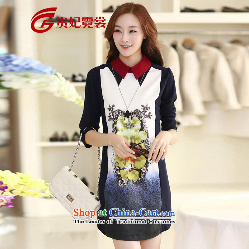 Gwi TysanSpring 2015 new expertise m extra female Korean Version_ loose video thin digital printing long-sleeved shirt rammed A210 A_white and blue skirt stampXL