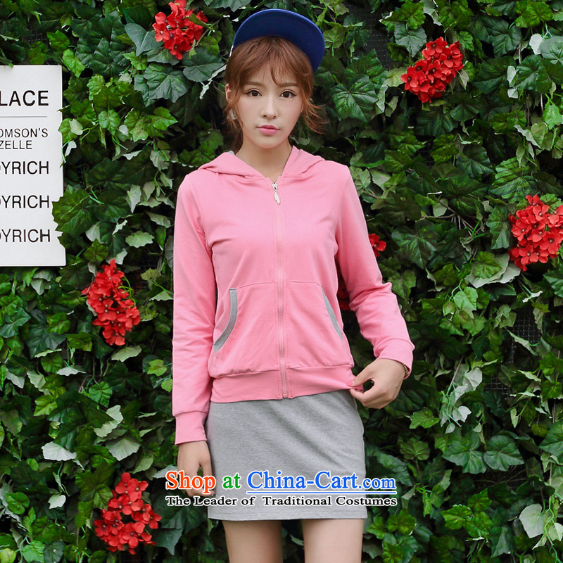 Optimize for a women's XL 2014 mm thick with Korean autumn new sweater with cap graphics package and thin package pinkXXL