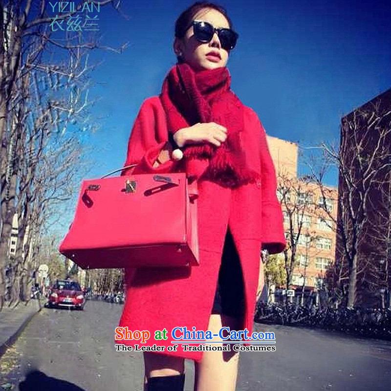Yi Tun Azlan 2015 autumn and winter clothes in the new version of the long trend of Korean loose hair? China Red Jacket coat JWT51 L