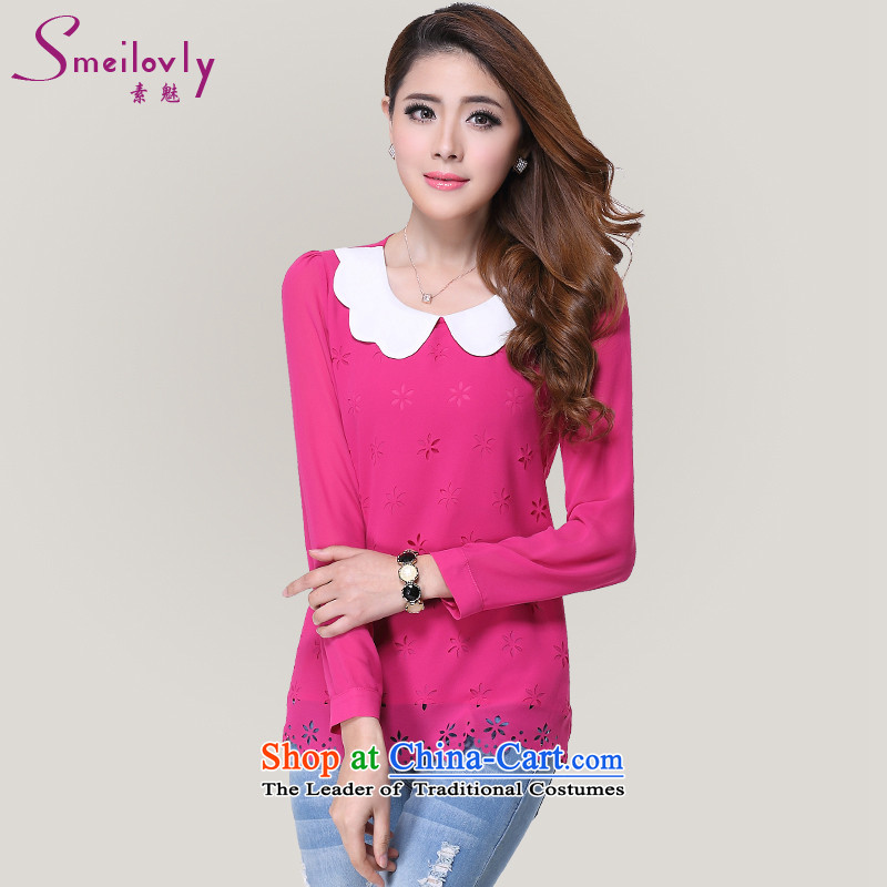 So clearly to xl female thick mm load new doll fall for video thin Korean thick long-sleeved shirt with sister chiffon with 61.52 rose 2XL