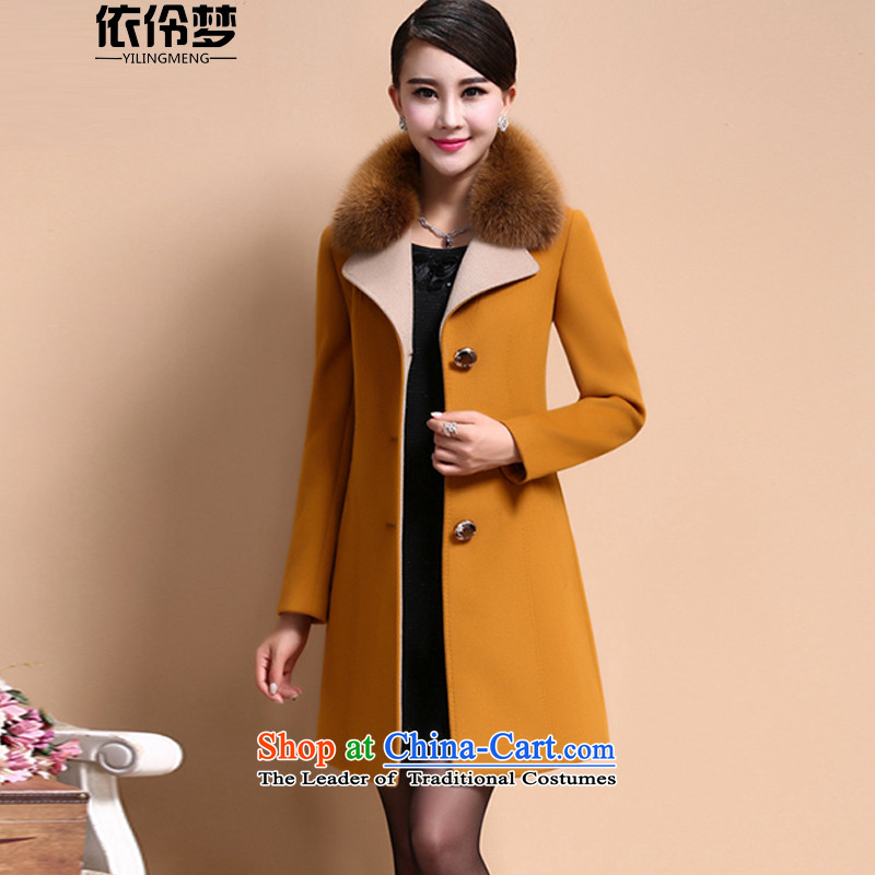 In accordance with the Lingdingyang autumn and winter dream female winter large new cashmere women in a long jacket, Gross Gross for thick MM coat jacket is yellow and brown聽XXXL female