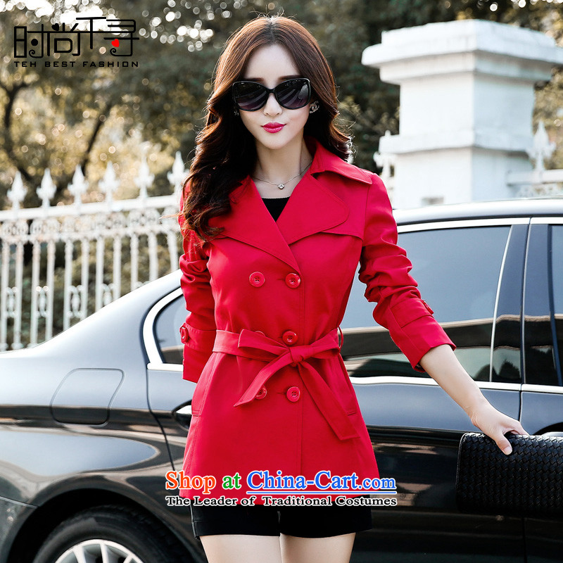Stylish Chihiro larger female wind jacket autumn 2015 new, the Women's Korean short double row  3XL S602116 buttoned, Red