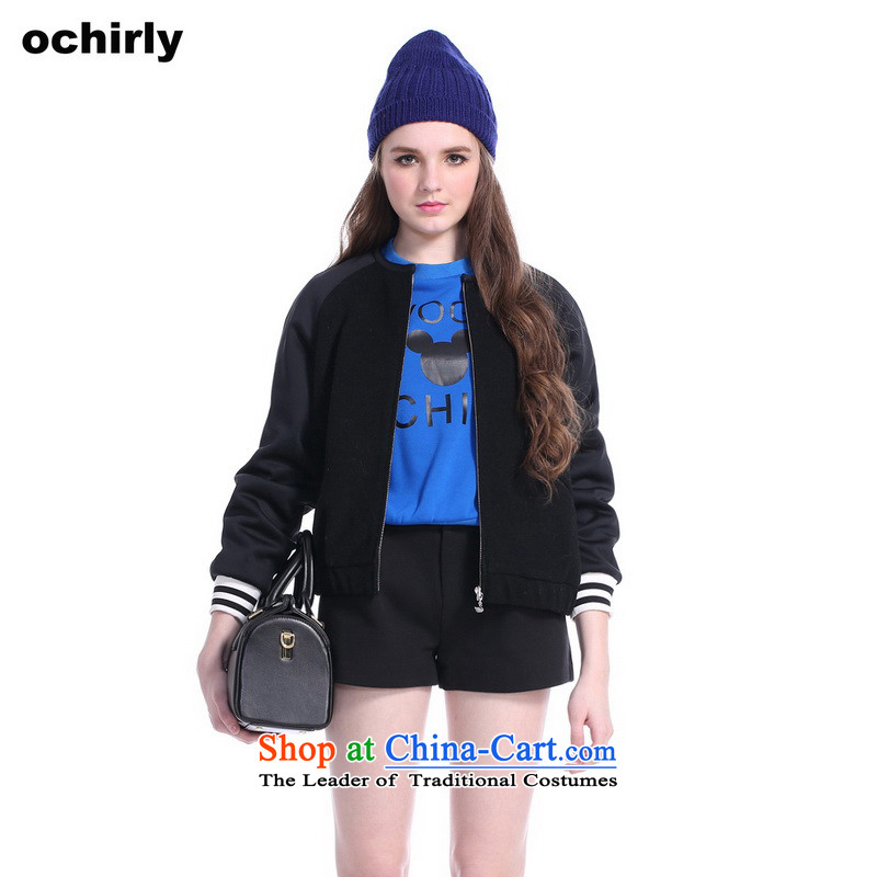 The new Europe, ochirly female western stitching loose baseball gross 1143342760 black jacket? S(160/84a) 090