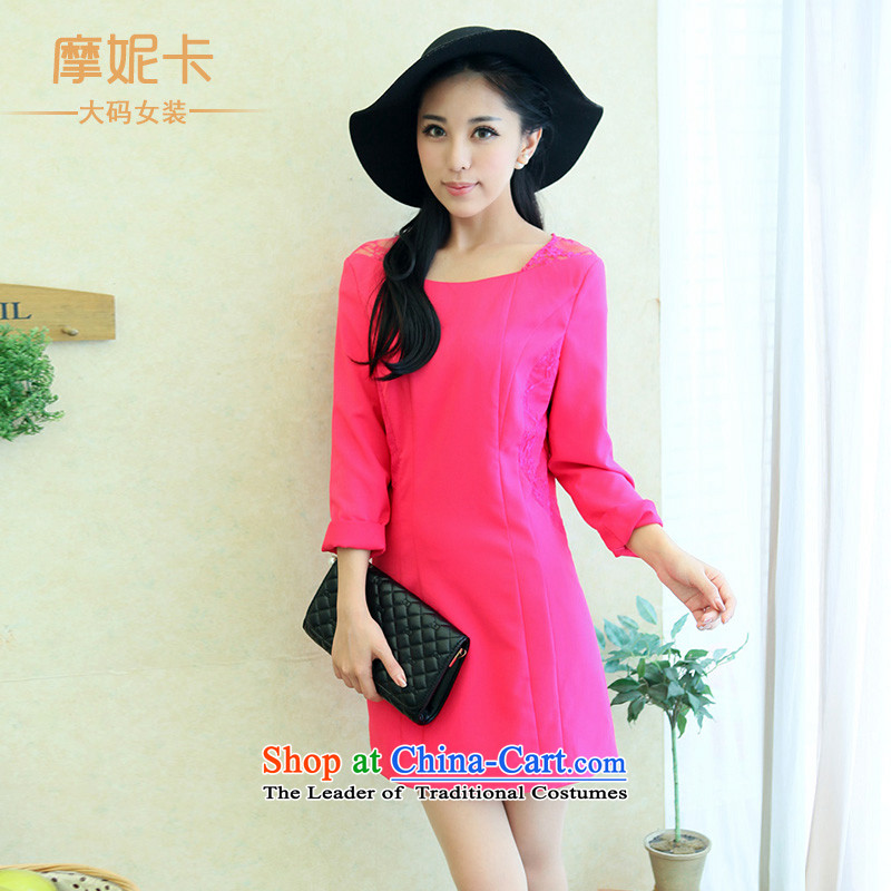 The fertilizer greatly code women thick mm autumn 2014 Korean Pack new graphics thin lace stitching round collar skirt the red XXL