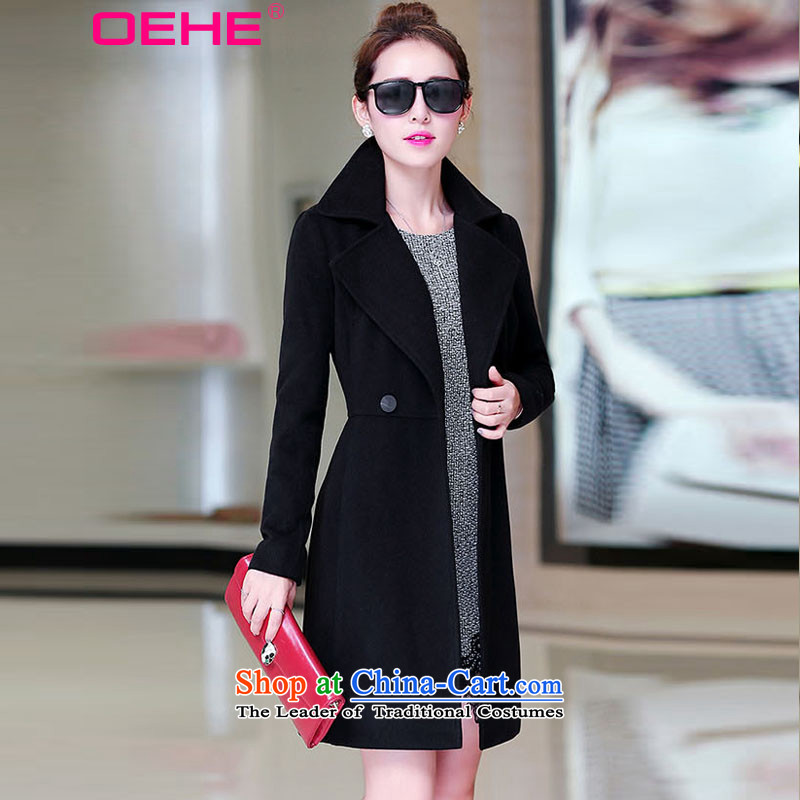 Install the latest Autumn 2014 OEHE, Korean Female Sub-D jacket wool?   Graphics thin double-coats female Black Hair?燤