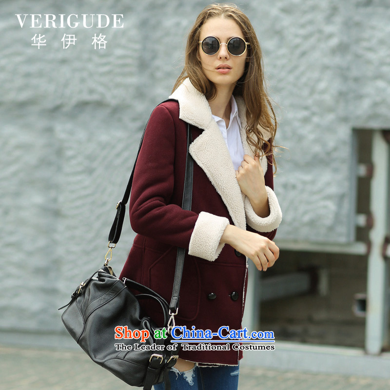 China Igor聽2015 winter clothing new western style, double-one in long fur, warm Chamois Velvet jacket female wine red聽L