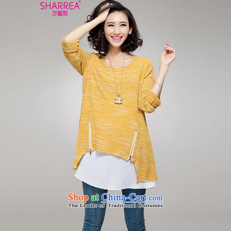 Sarah ya  2014 autumn and winter, large Fat MM long-sleeved zipper knitted dresses0742YellowXL