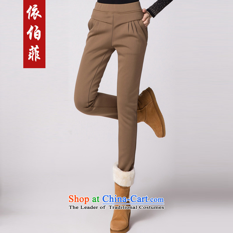 In accordance with the perfect聽winter 2015 MM thick plus extra thick warm relaxing lint-free Harun trousers large Sau San Boot, forming the castor trousers press female Y142 DARKKHAKI聽XL