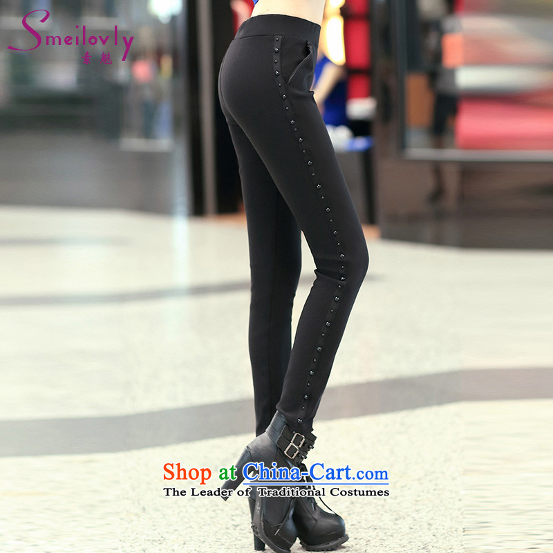 The Director of the women's extra-thick mm2014 new leisure Top Loin of black trousers, forming the basis through the castors trousers autumn and winter trousers,black S90382XL