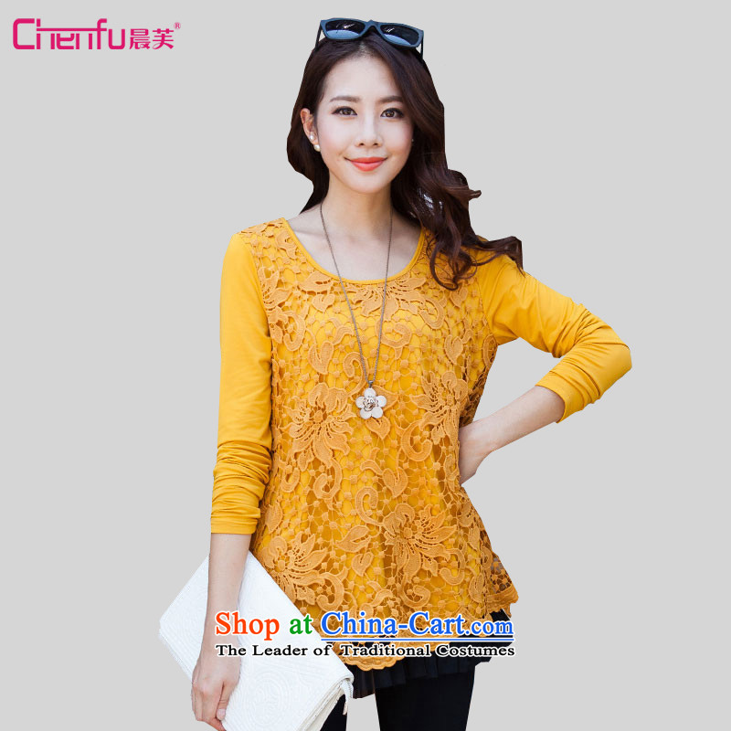 Morning to load the new 2015 autumn large stylish and elegant ladies wild stitching lace shirt round-neck collar video thin lace hook to spend two hundred folds leave under forming the Netherlands turmeric yellow�0-118 L suitable for coal_