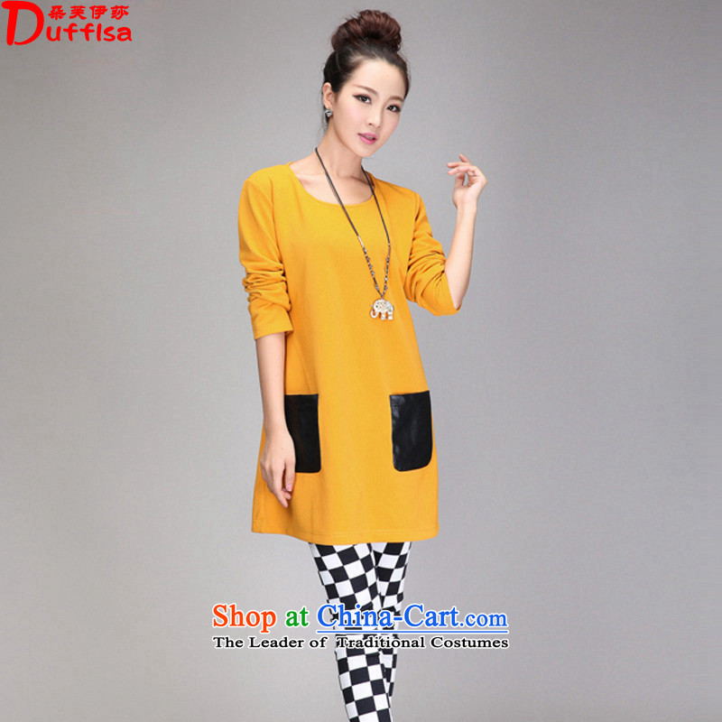 Flower to Isabelle�15 Western New Fat MM to xl loose video thin leather pockets, forming the spell checker dresses female D7194 Yellow�L