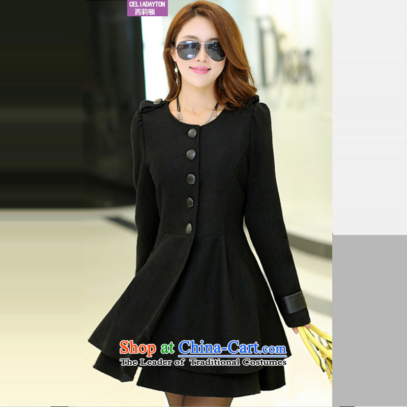 Szili Clinton xl female thick mm2015 autumn and winter New Sau San Mao jacket to increase it won in version of thick black overcoat�L Ms. King
