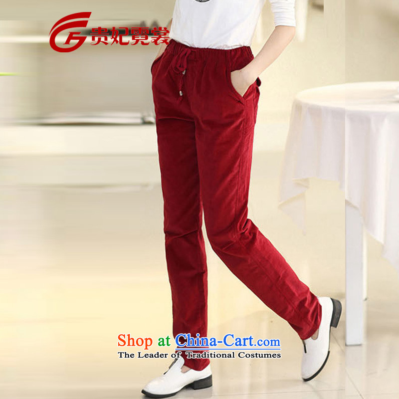 Tysan thick mm2015 Gwi-Spring New extra female corduroy trousers loose video thin little leisure xl leisure pants A180 RedXL