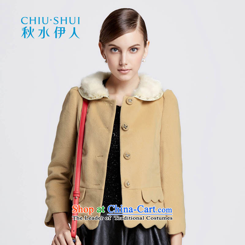 Chaplain who winter clothing new women's exquisite nail pearl gross margin for stitching petals pure color coats 1341F120209? brown beige 160_M