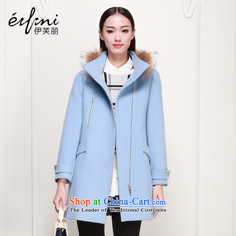 El Boothroyd 2015 winter clothing new Korean women who are for Gross Gross woolen coat jacket female 6480947120? light blue燬