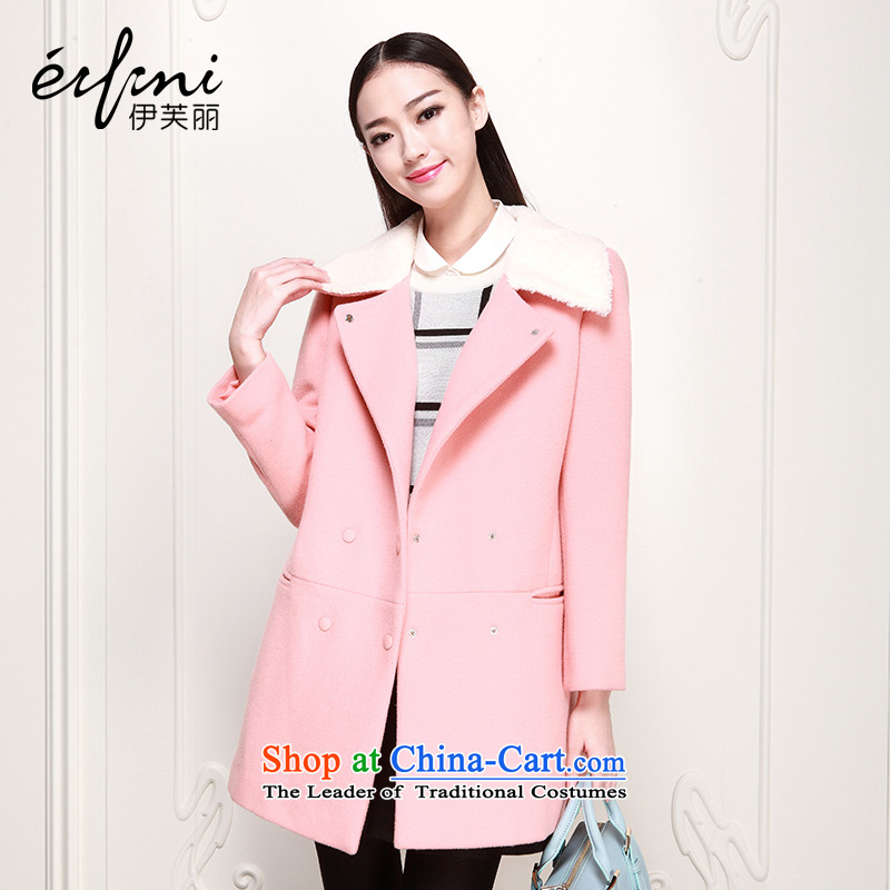 Of the 2015 autumn and winter, the new Korean girl in long-sleeved lapel long coats woolen coat 6480947338 pink M