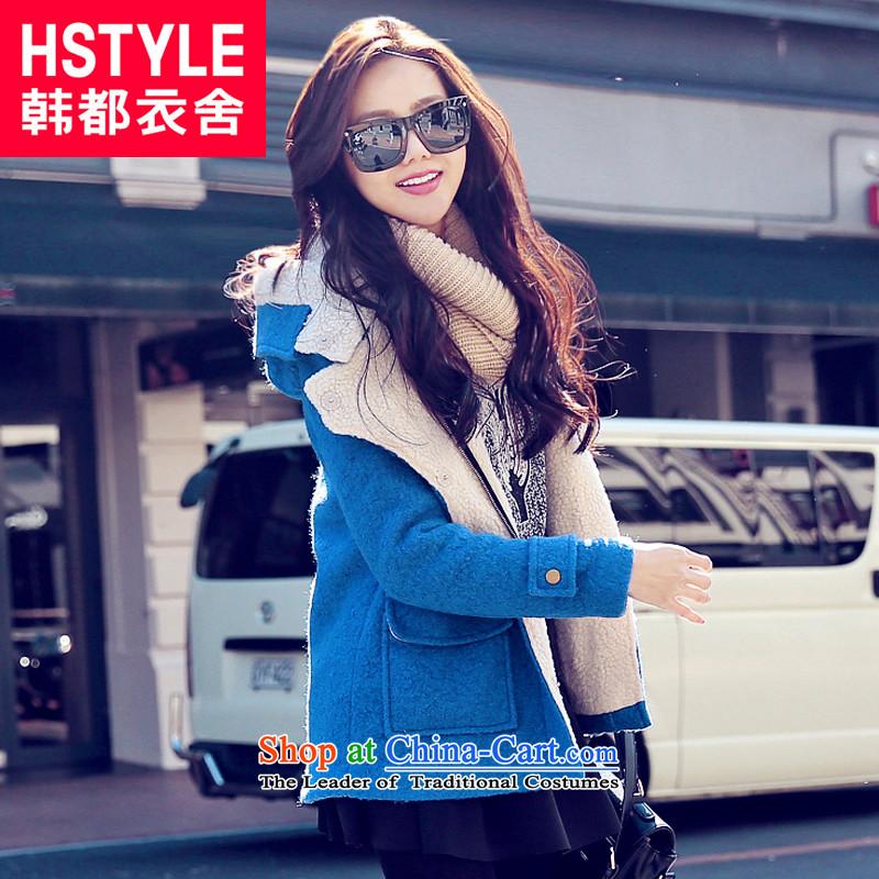 Korea has the Korean version of the Dag Hammarskjöld yi 2015 winter clothing new women's solid color Pocket Zip Jacket CQ3088 gross? Tsat blueS