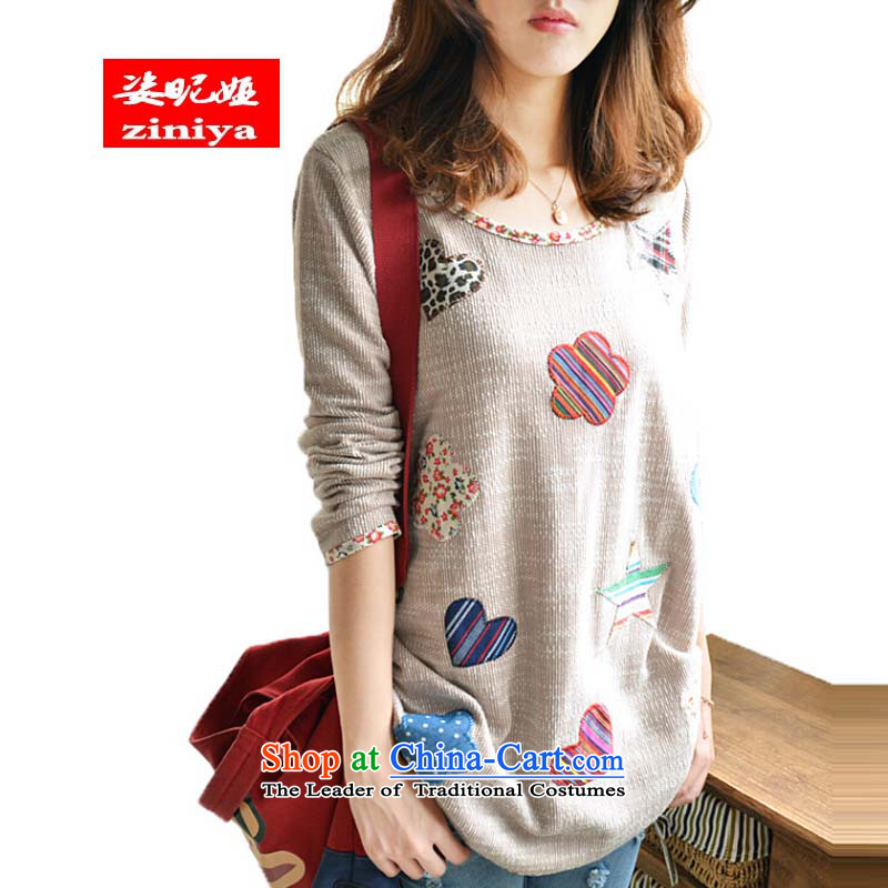 Gigi Lai Young Ah�14 Autumn load new Korean Edition to increase the number of women with thick mm thick persons forming the leisure shirt video thin cotton linen, long-sleeved T-shirt color pictures of low�L appears at paragraphs 145-155