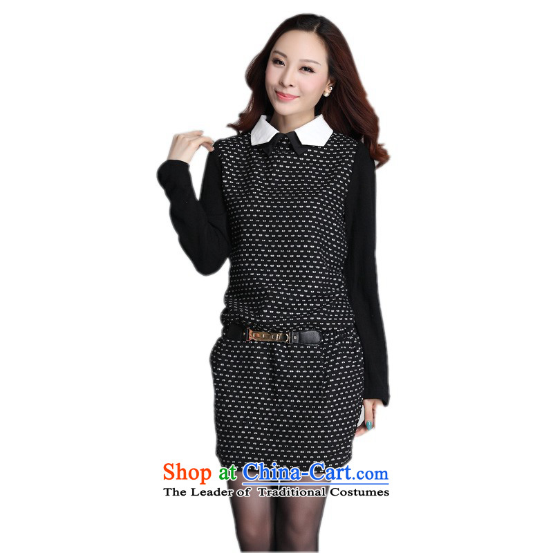 C.o.d. Package Mail to women's dresses Korean OL commuter lapel temperament Sau San knitting dress stamp forming the long-sleeved? skirts gross large white dot graphics thin skirts XL about paras. 125-140 catty