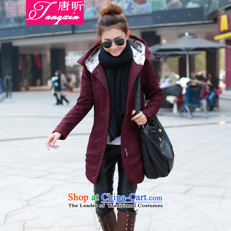 Tang Xin autumn and winter load new Korean womens cotton Sau San smart casual dress code large cotton coat in the medium to long term, wine red _801 XXL