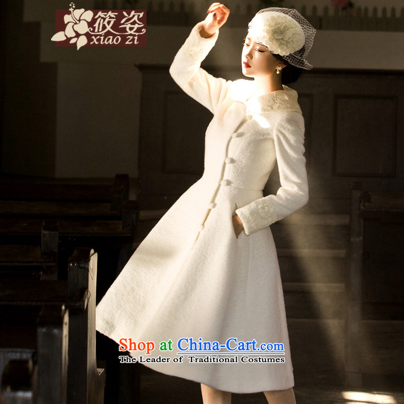 Siu Chi. Prayer .2015 autumn and winter load new retro lace lapel long thick wool a wool coat jacket pearl white燣 pre-sale 5-30 days_