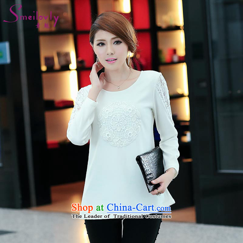 Of staff to increase the burden of 200 women thick mm2014 code load spring and autumn lace stitching long-sleeved T-shirt聽S1695 shirt, forming loose聽white聽4XL
