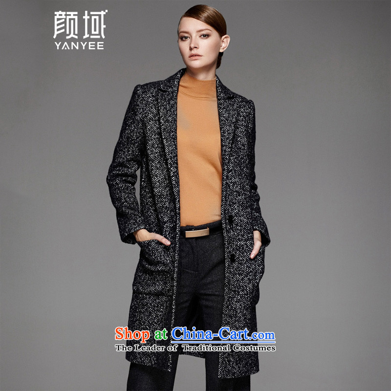 Mr NGAN domain 2015 autumn and winter new women's Stylish retro lapel wool a wool coat long jacket 04W4566 gross? black and gray XL_42