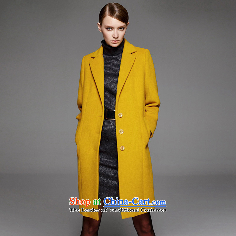Mr NGAN domain 2015 autumn and winter new women's handsome lapel balangjie-woolen coat in the long hair of Sau San?04W4549YELLOWS/36 Jacket