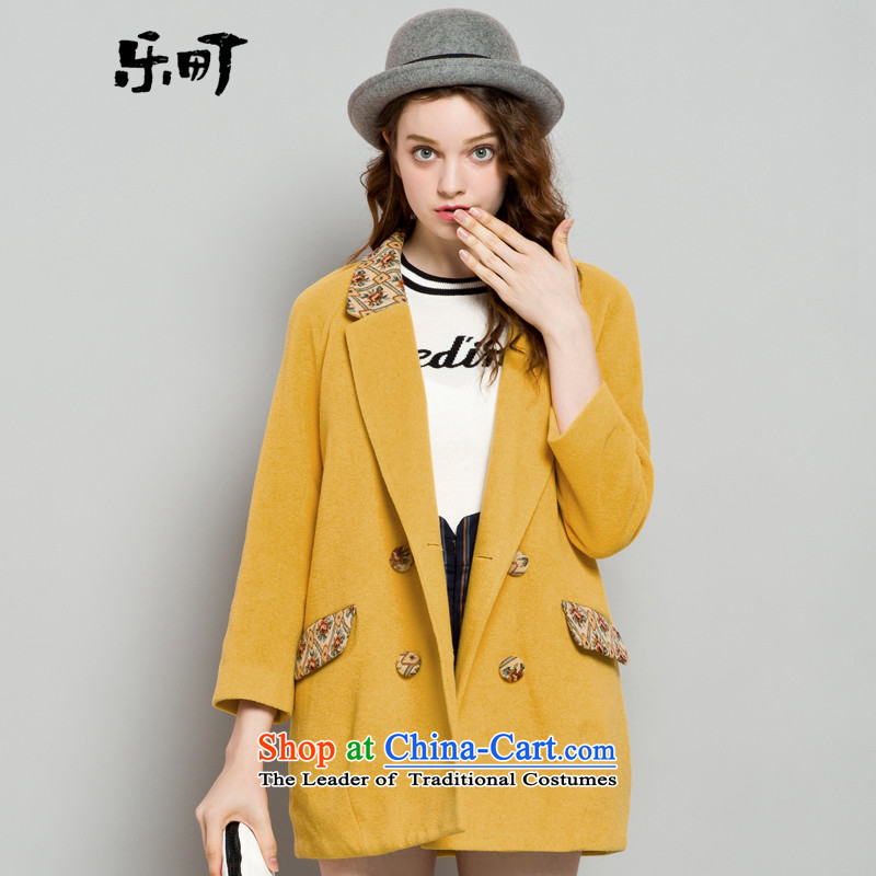 Lok-machi 2015 winter clothing new date of female national long coats CWAA44260 gross? yellow燬
