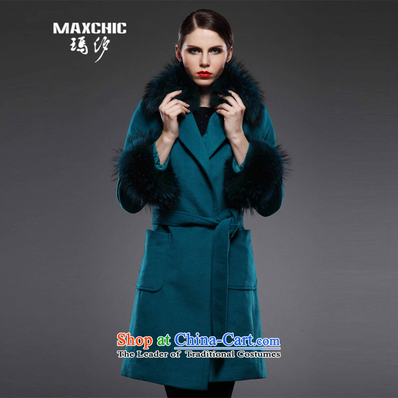 Marguerite Hsichih maxchic 2015 Ms. autumn and winter clothing for long-sleeved nuclear sub-Nagymaros alpaca wool for coats female 12582 LSI? Blue燤