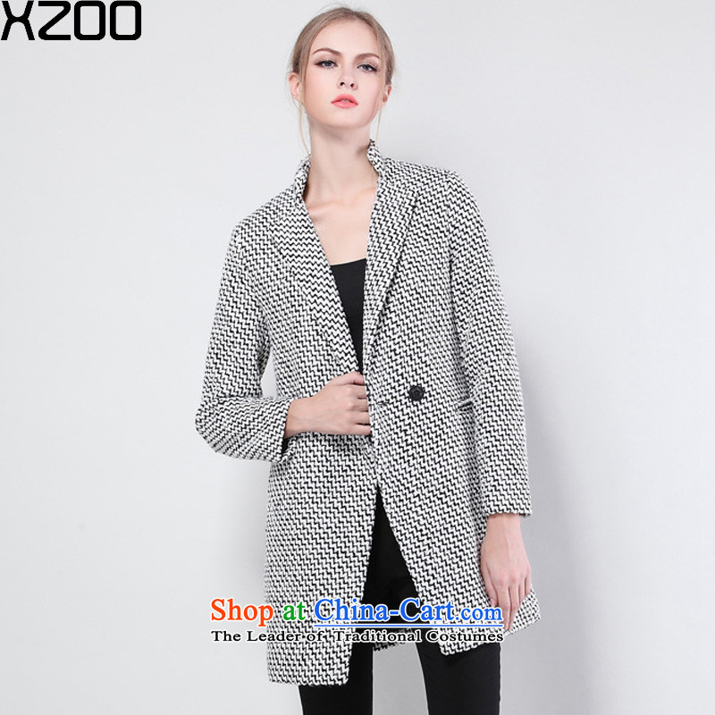 Gross? female jacket XZOO2015 coats Korean version of Sau San thick winter clothing燳Z133A a black-and-white interval燤