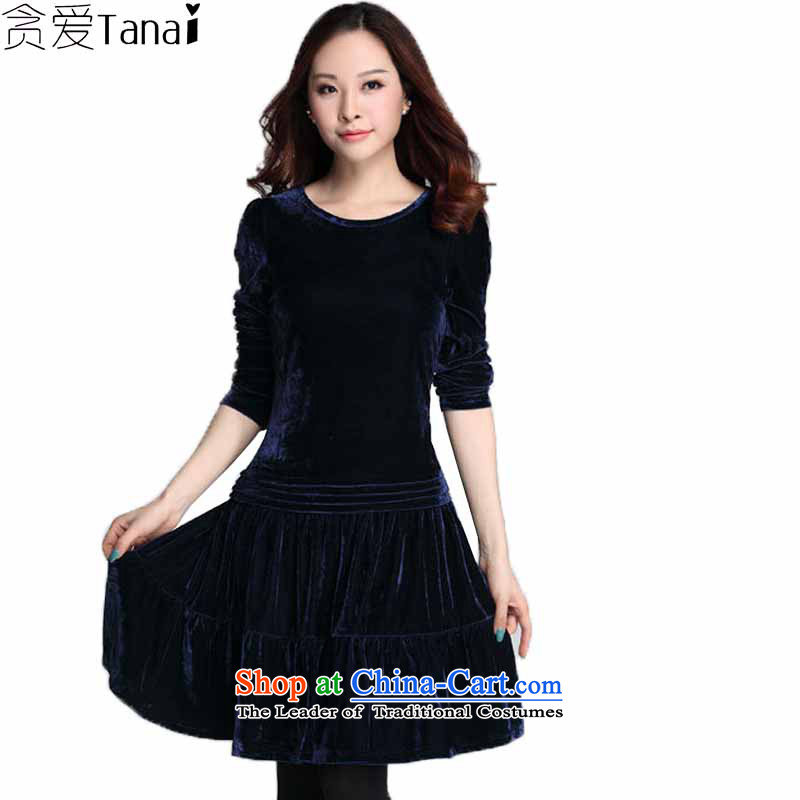 Winter 2015 coveted new Lady Kim scouring pads long-sleeved thick people xl long-sleeved dresses 3657th XXXXL Dark Blue