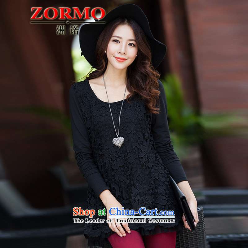 Maximum number of ladies ZORMO to xl autumn and winter lace forming the Netherlands under the liberal mm thick long-sleeved shirt warm black 4XL
