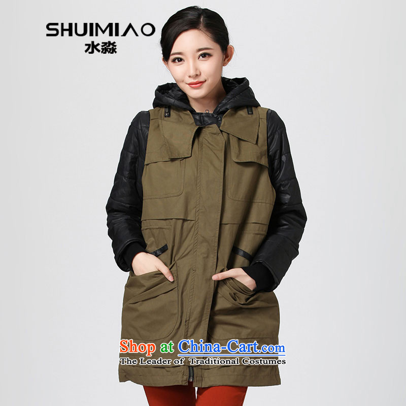 The representative of the water of the 2014 Winter Han version of large numbers of new cap two kits cotton coat girl in long robe DU2308 thick army green燲L