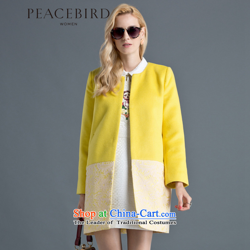 - New shining peacebird Women's Health 2014 winter clothing new spell lace coats A4AA44155 Yellow?XL