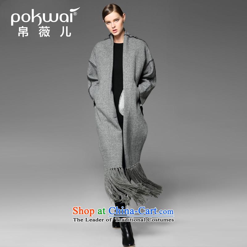 The Hon Audrey Eu Yuet-yung _pokwai_ Friendship 2015 autumn and winter new gross wool sweater jacket? a wool coat Gray燣
