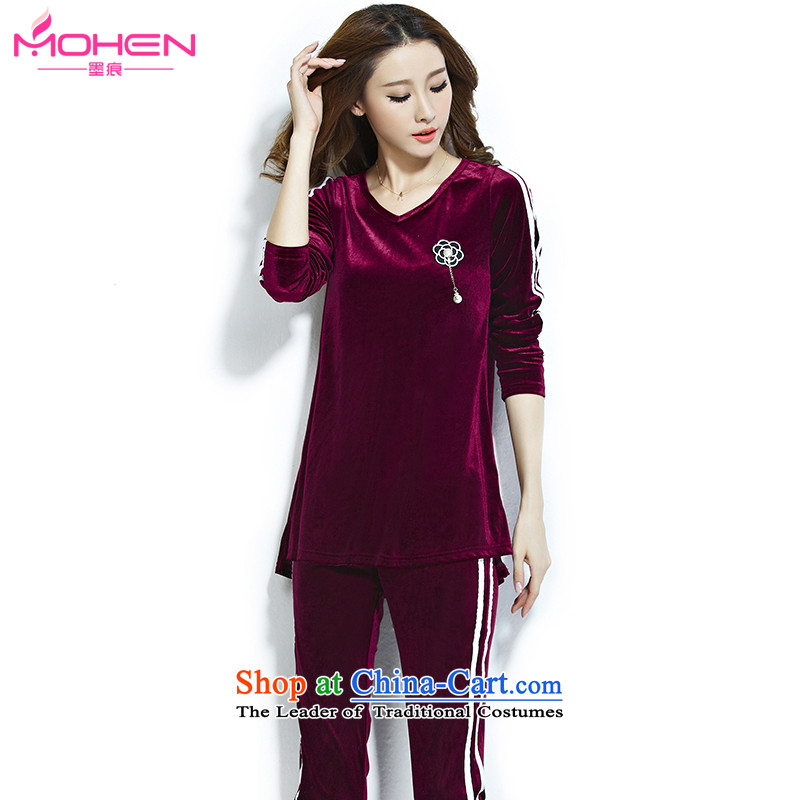 Ink marks the new Korean style of autumn and winter larger ladies casual sports suits streaks Sau San video thin velvet sweater pants and two piece?agreed by the?wine red?2XL_ recommendations 140-155 catties_