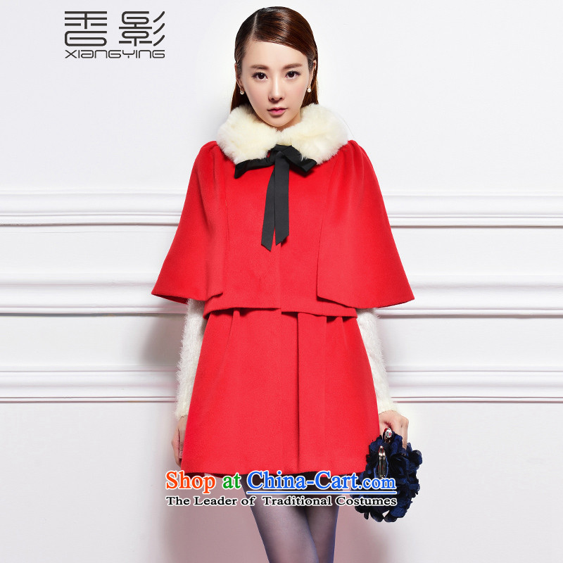 The Champs Elysees shadow cloak? jacket women 2015 gross winter clothing new Korean version of long wool a wool coat temperament elegant red燤