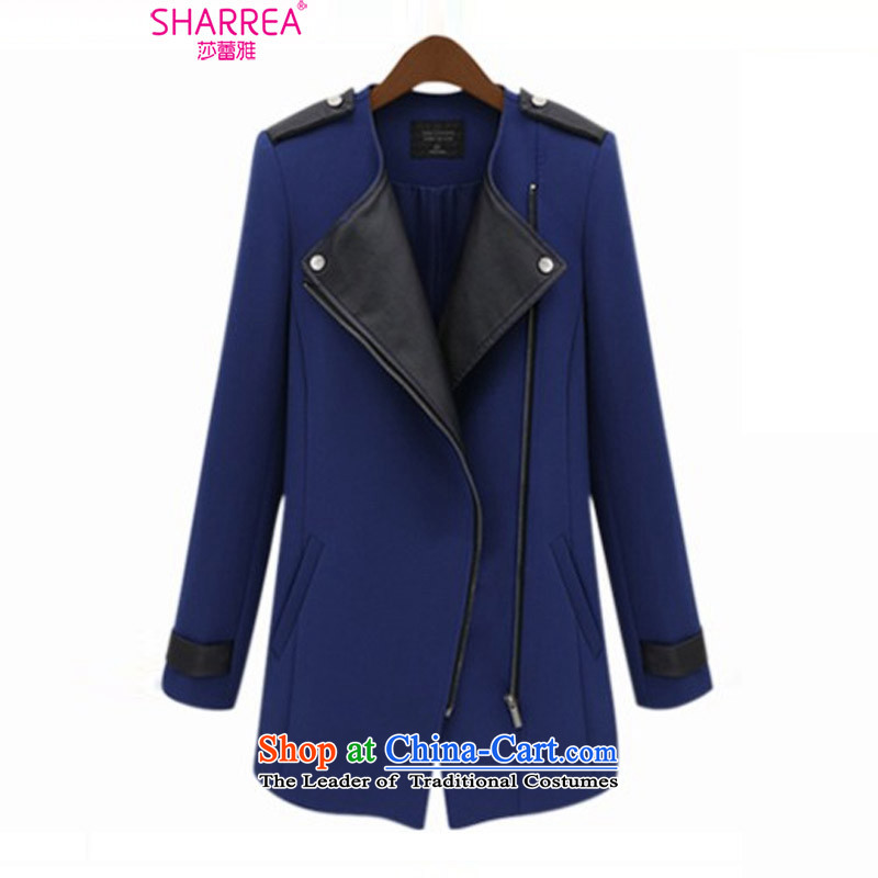 Sarah ya 2015 Western autumn and winter increase in liberal MM thick Long Neck Jacket 0766 turn dark blue�L