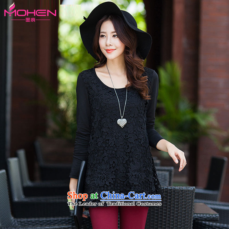 Ink marks autumn stylish Korean New larger female round-neck collar minimalist lace tick spend double t-shirt, forming the Netherlands�78燘lack�L_ 135-150 for a catty_